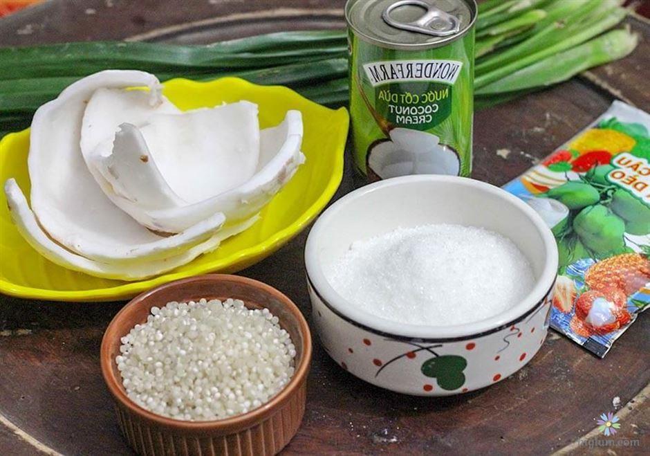 Nguyên liệu chuẩn bị cho món chè dừa dầm